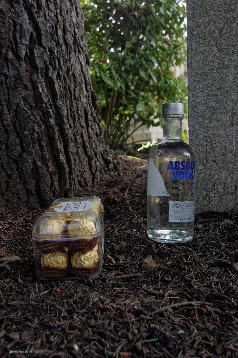cimetière russe Ste-Geneviève-des-Bois offrande sur tombe, vodka et chocolats1