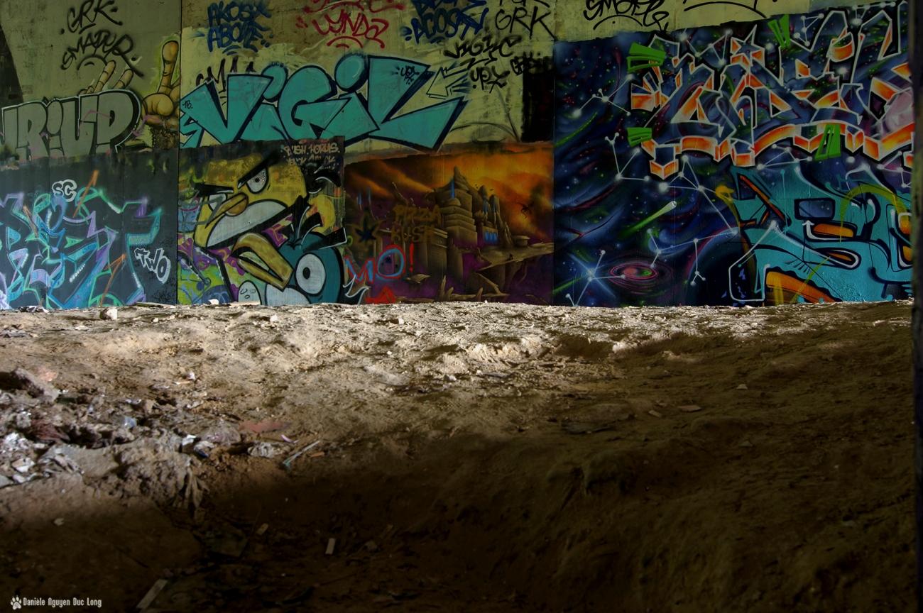 tunnel A10 Graf ras du sol, street art,