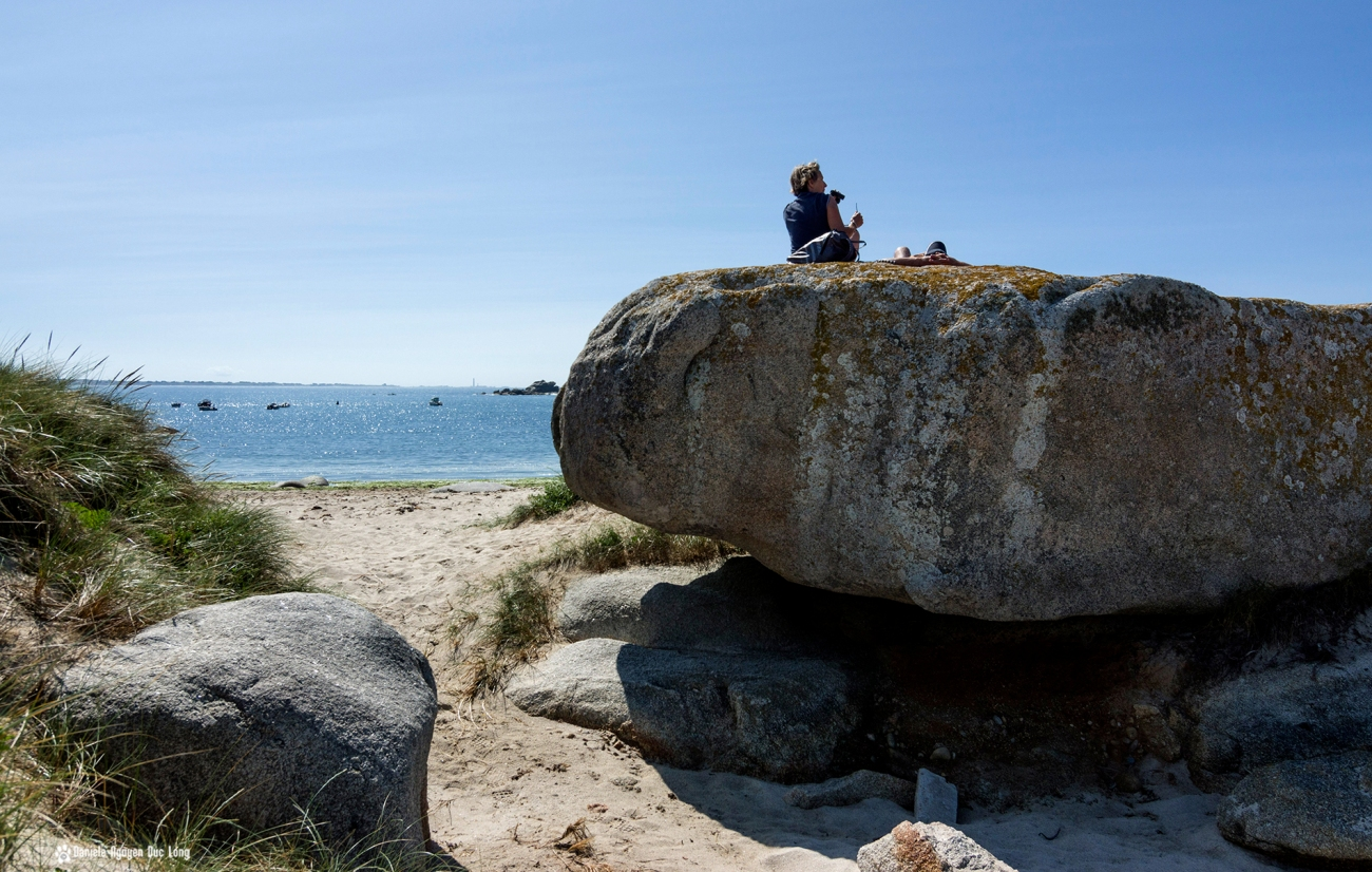 île aux vaches, prendre le soleil et scruter l'horizon, Kerlouan, Bretagne, Finistère