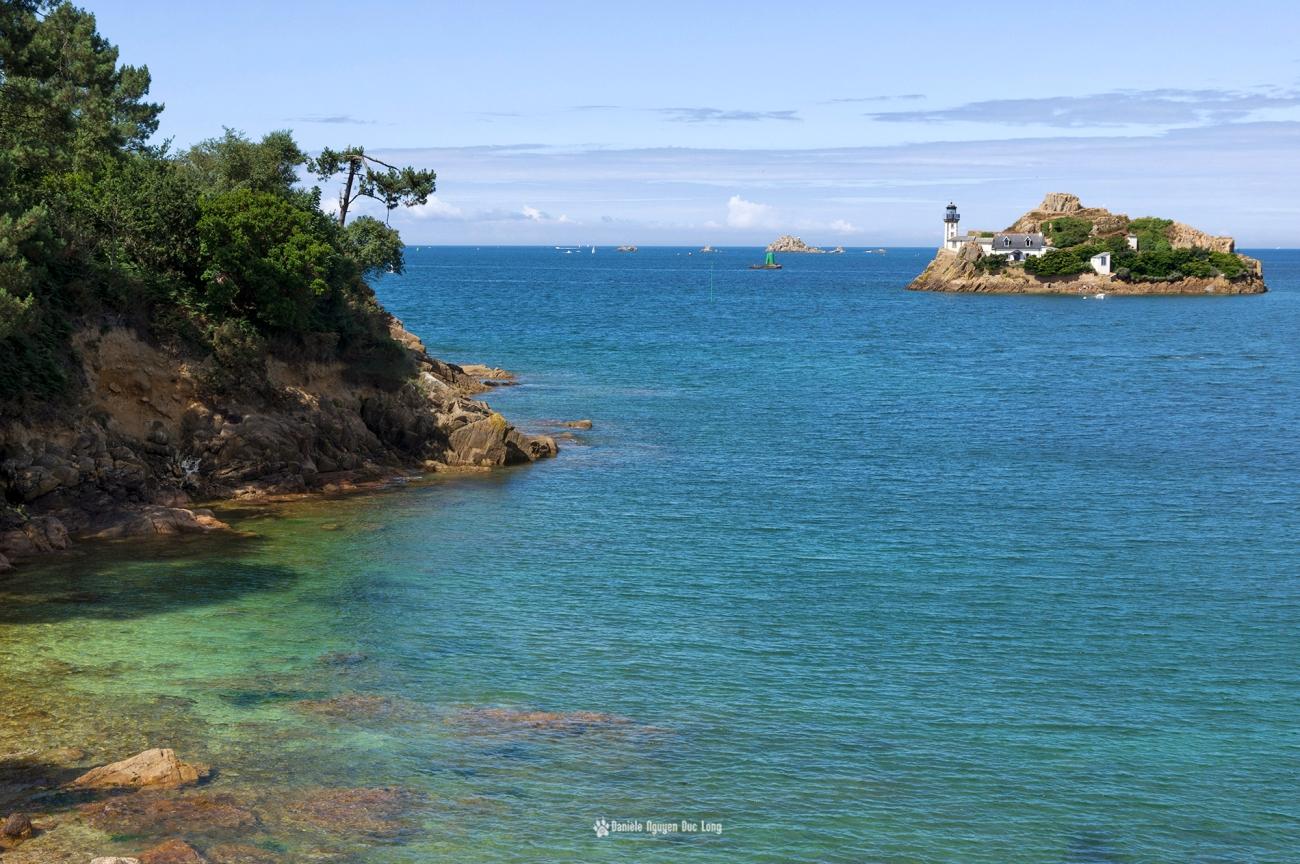 île Louët depuis la berge, baie de Morlaix, Bretagne, Finistère,île Louët