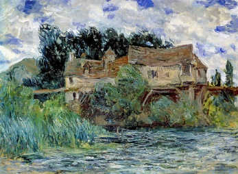 toile de Claude Monet Maison sur le Vieux Pont de Vernon 1883