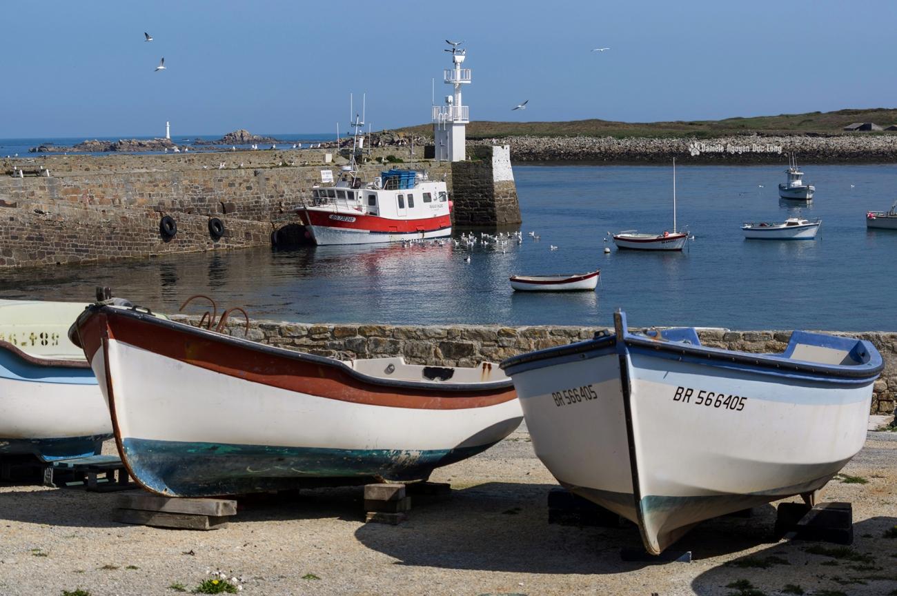 bateaux au port de Molène