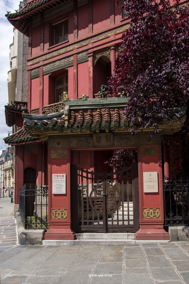 Pagode Loo, Maison Loo, Pagode d'inspiration chinoise, Paris 8e, portail entrée