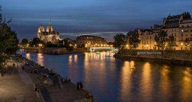 soleil couchant sur l'île de la Cité depuis le pont de la Tournelle copie