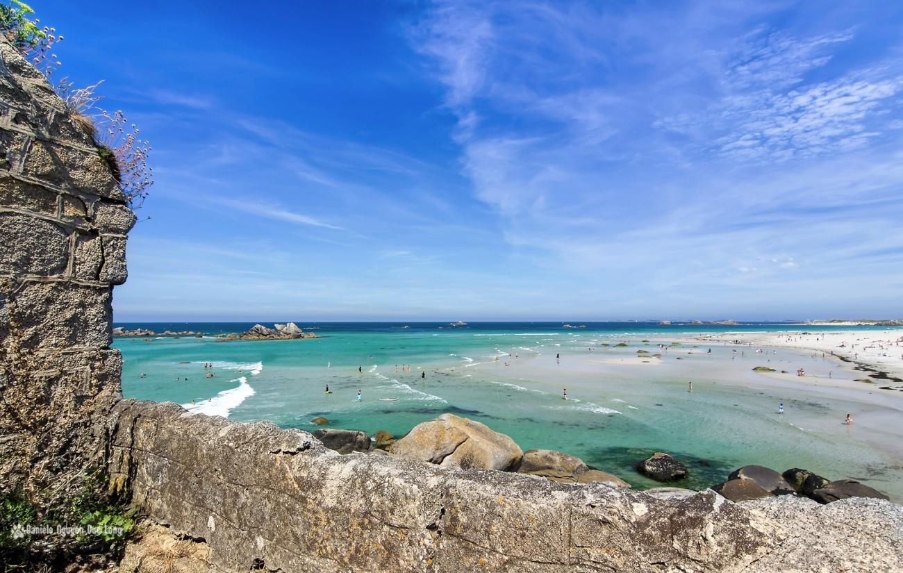 maison de garde de Lavillo appelée aussi Ker pors srtiz ou Ode an deved, vue plage de Kerfissien.,Bretagne, Finistère