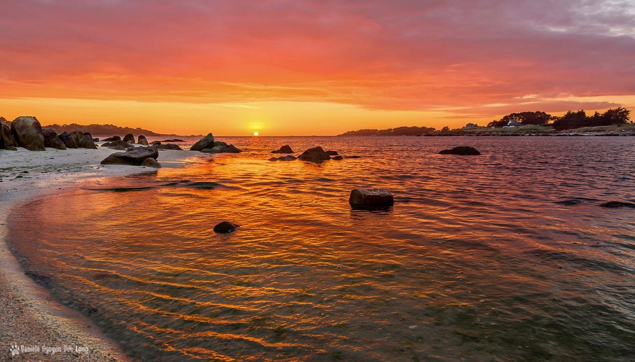 coucher de soleil en baie de Guissény, Bretagne, Finistère