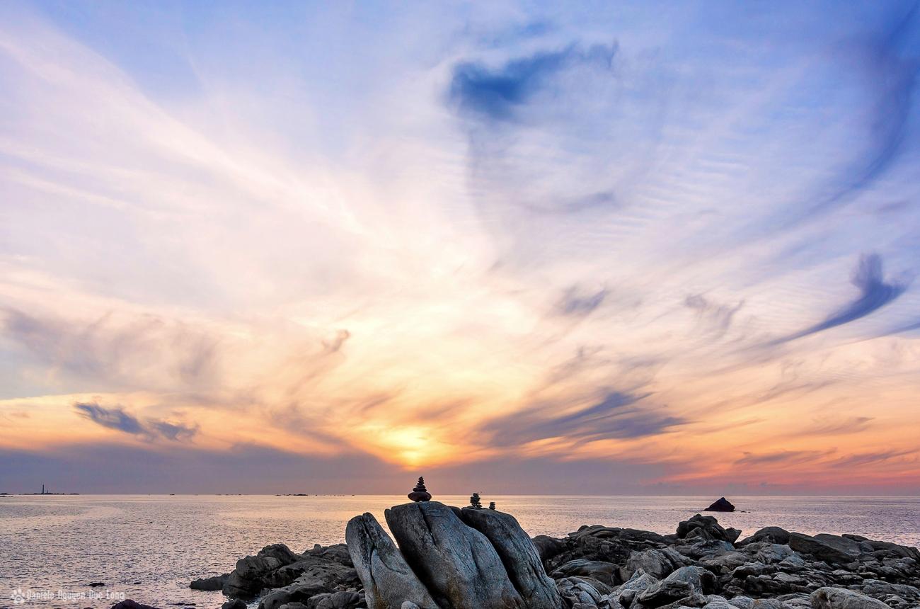 coucher de soleil, fin du jour au Curnic à Guissény, Bretagne, Finistère