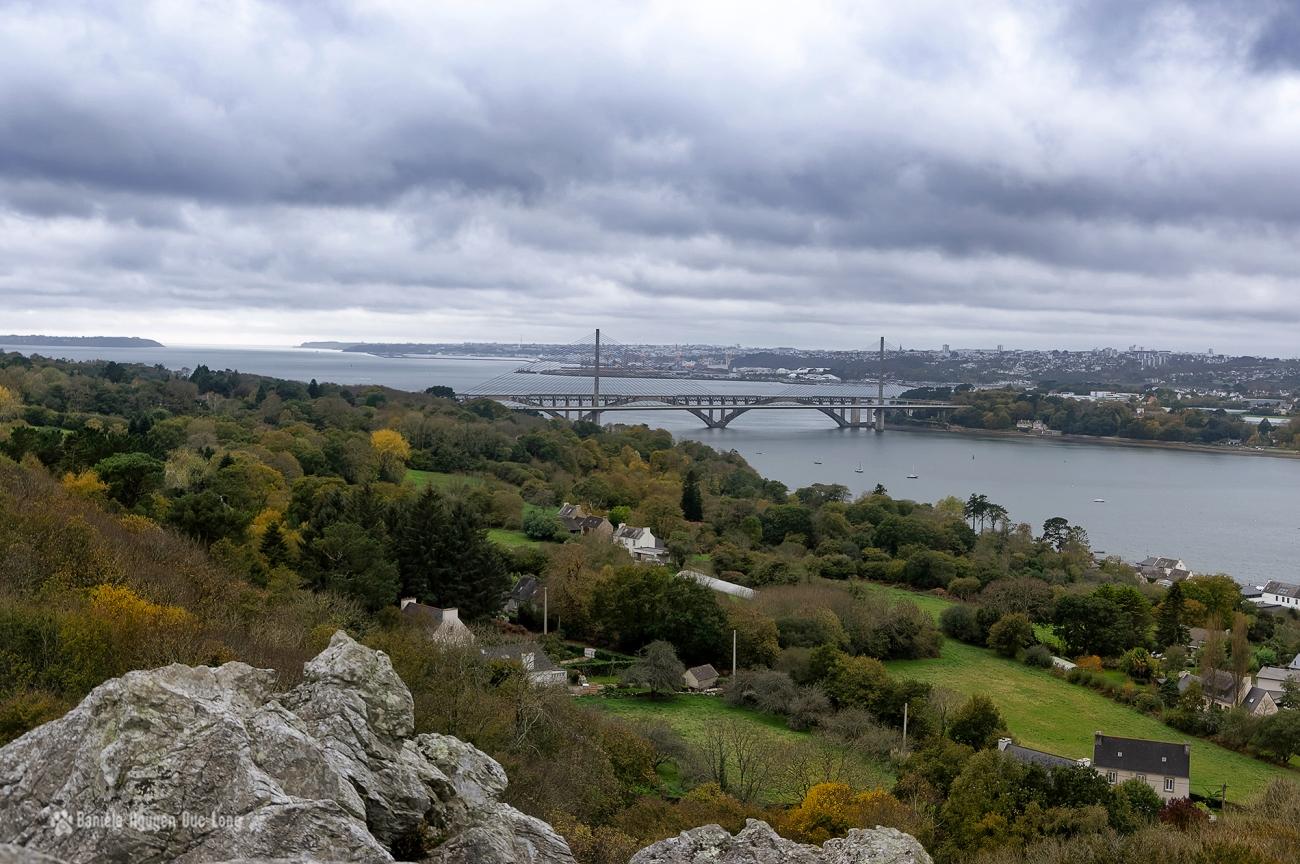 Ponts de l'Iroise et Albert-Louppe depuis le rocher de l'Impératrice à Plougastel Daoulas