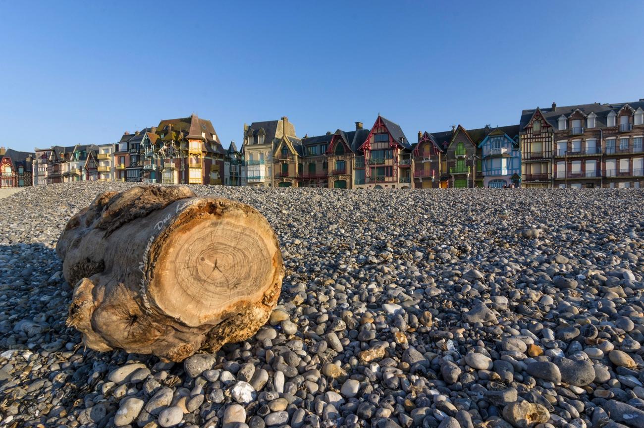Mers-les-Bains, les maisons typiques du front de mer, classées site patrimoine remarquable, Picardie, Hauts-de-France