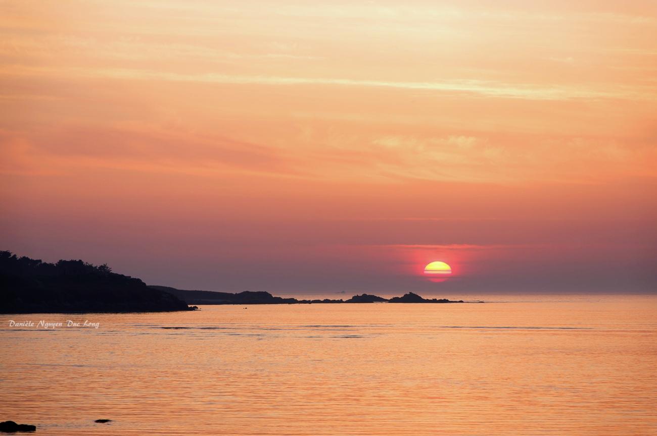 coucher de soleil sur la baie de Guissény, Bretagne, Finistère
