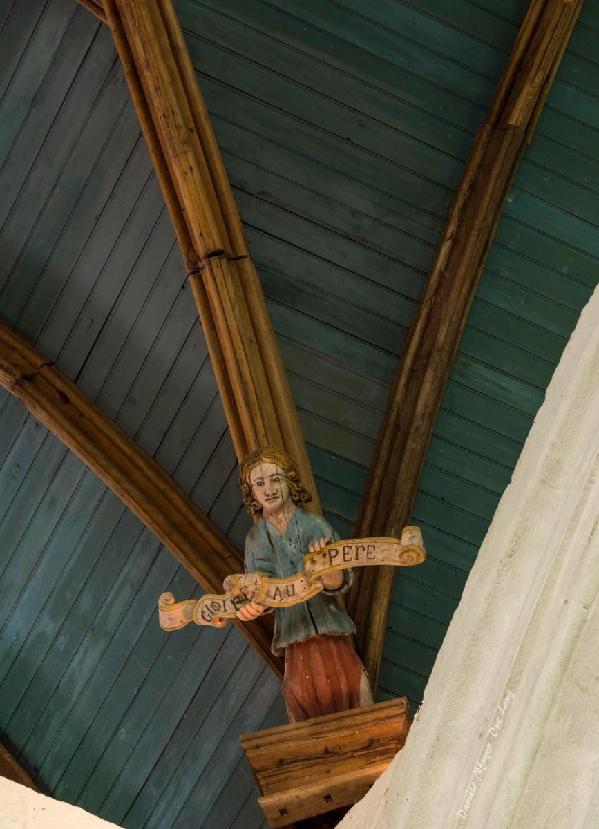 Chapelle Saint-fiacre Le Faouët, Bretagne, voûte plafond et têtes