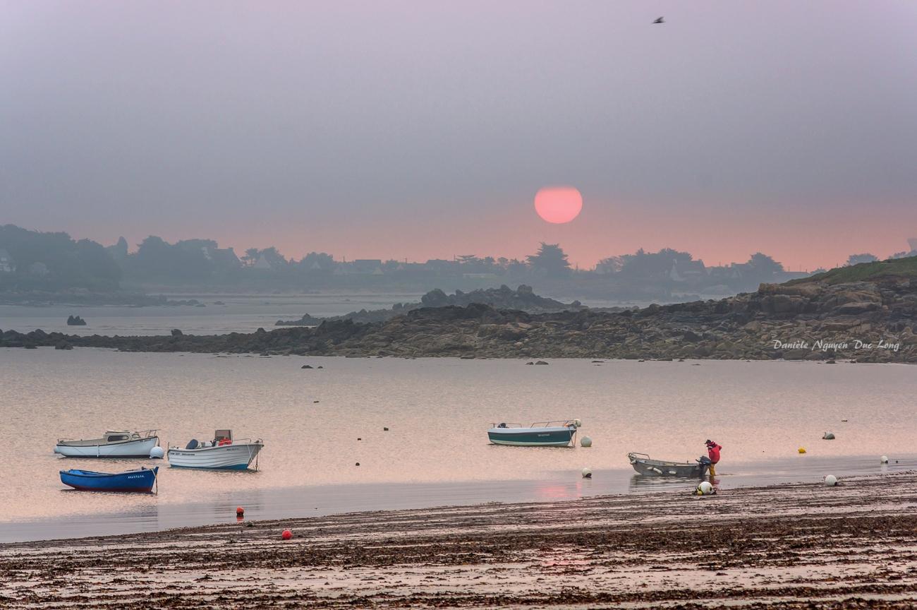 lever de soleil brumeux sur le port du Curnic, Bretagne, Finistère
