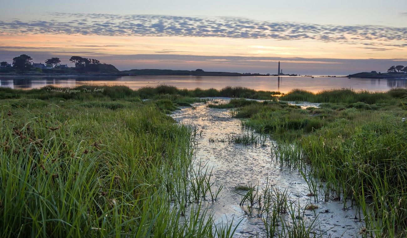 coucher de soleil sur l'île Vierge, Lilia, Plouguerneau, finistère, Bretagne
