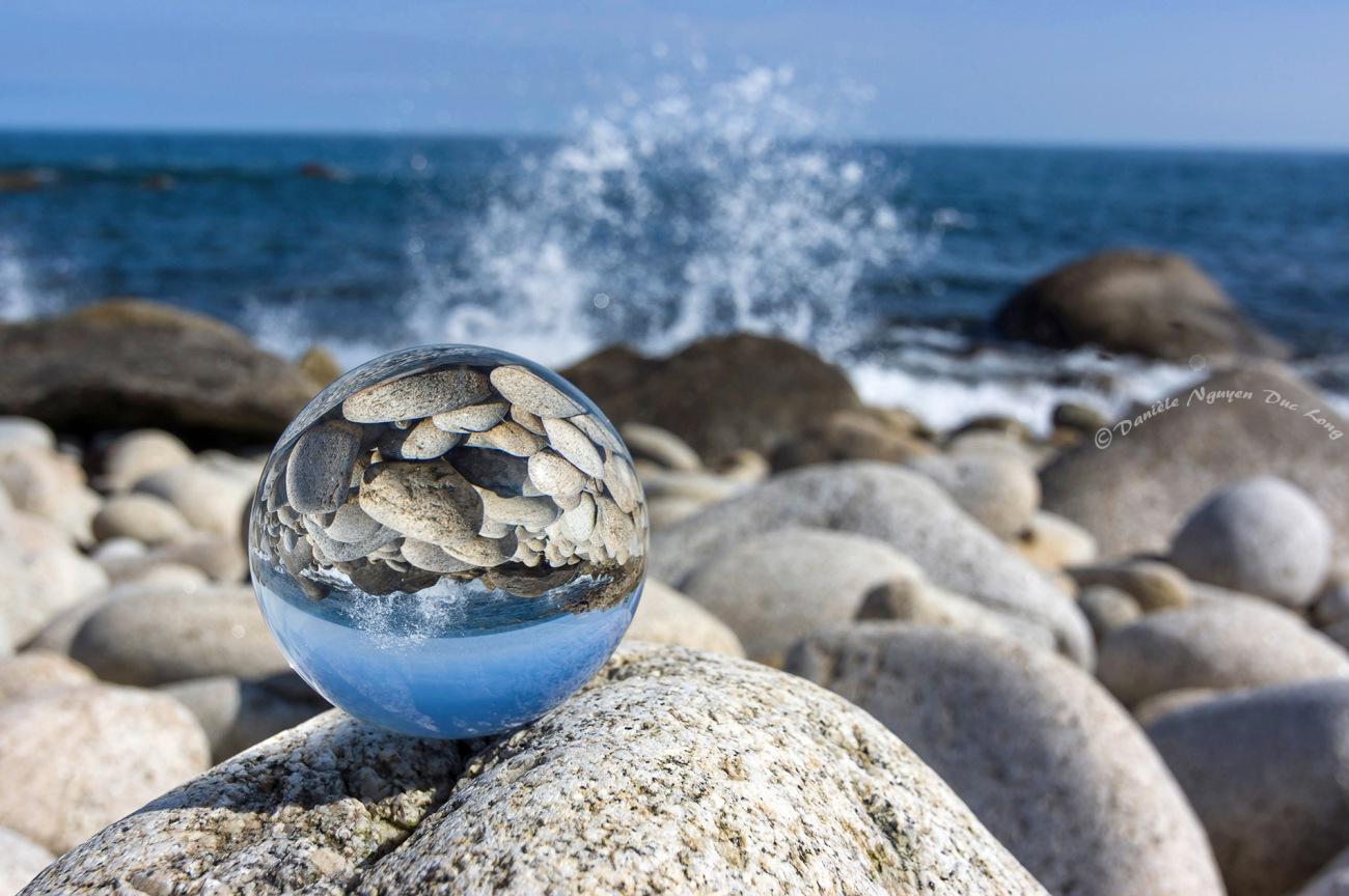 boule de cristal vagues à Beg Monon Plouguerneau