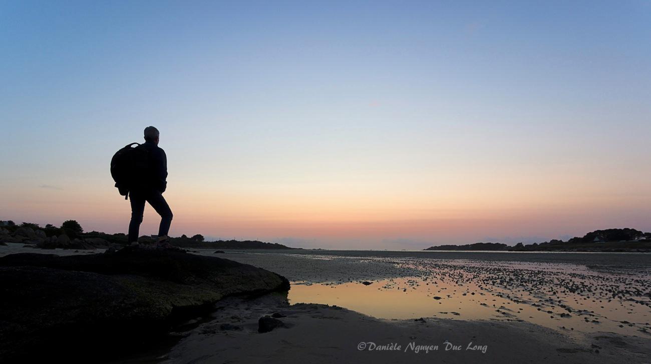 auto-portrait, sunset, coucher de soleil, baie de Guissény, Guissény-sur-mer, Finistère, Bretagne