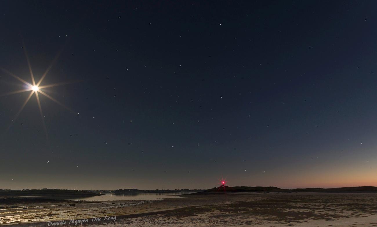 photo début de nuit l'île Wrac'h, Lilia, Plouguerneau, Bretagne, Finistère