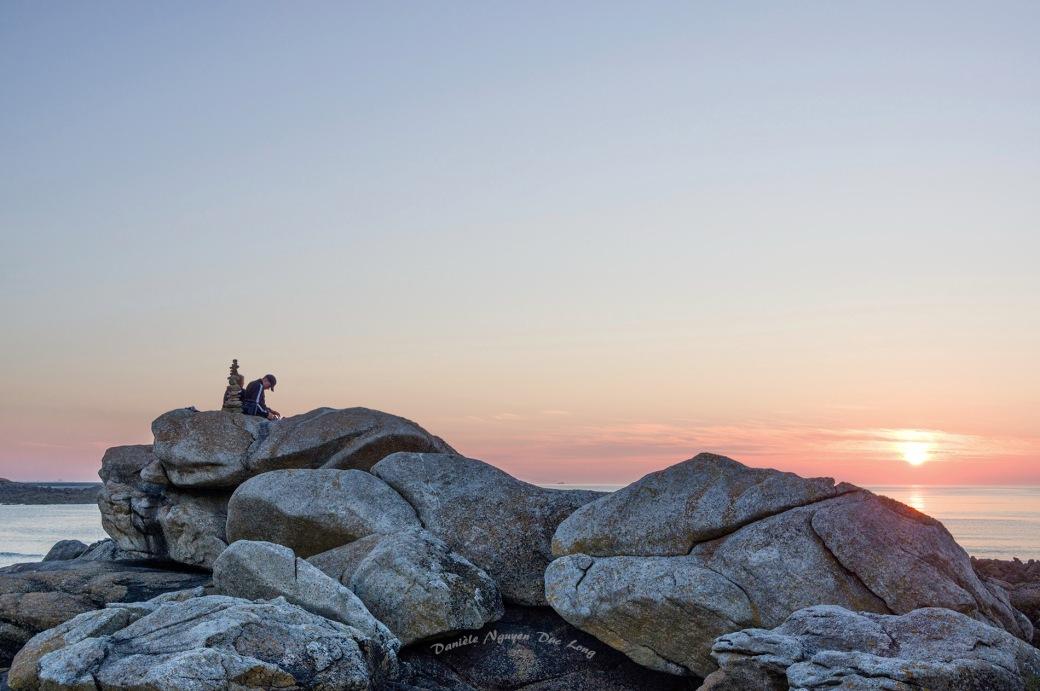 coucher de soleil, pointe de Dibennou, Finistère, Guissény, Bretagne
