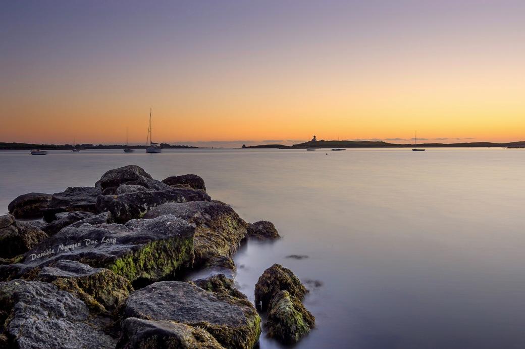 pose longue, Saint-Cava, île Wrac'h, Plouguerneau, Finistère, Bretagne, coucher de soleil