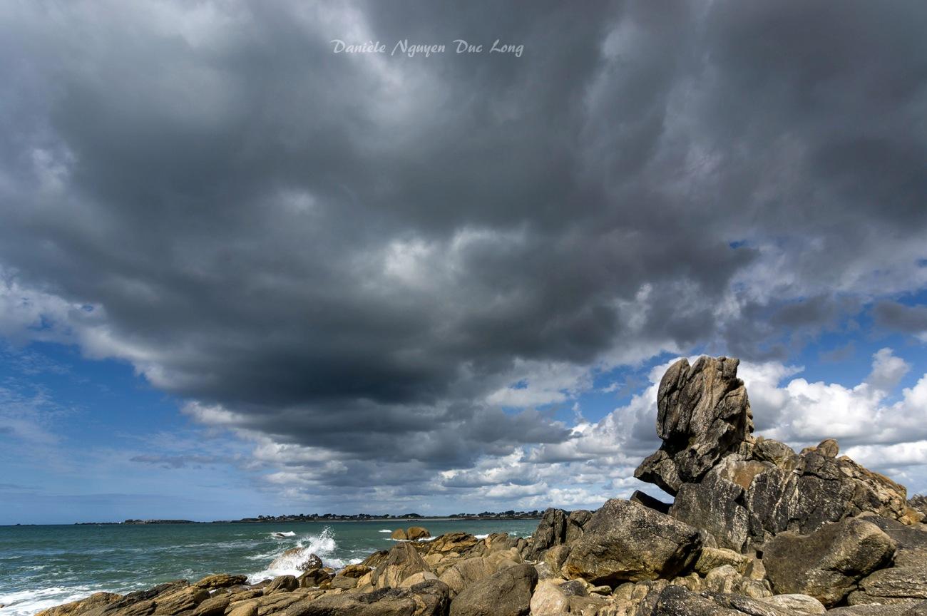 port du Curnic, nuages, Guissény, Bretagne, Finistère